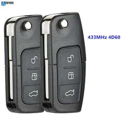 REMOTE KEY FOB 3 Button 433MHz With Chip 4D60 for Ford Focus Mondeo