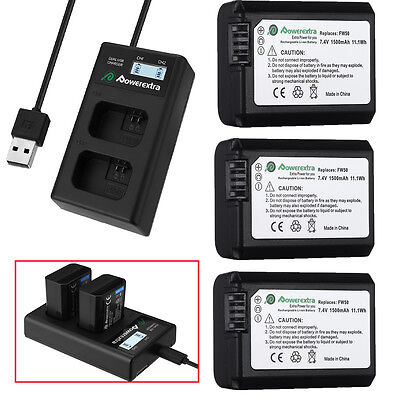 NP-FW50 Battery For Sony Alpha A6000 A6500 A6300 A7r A7 + LCD Dual USB Charger