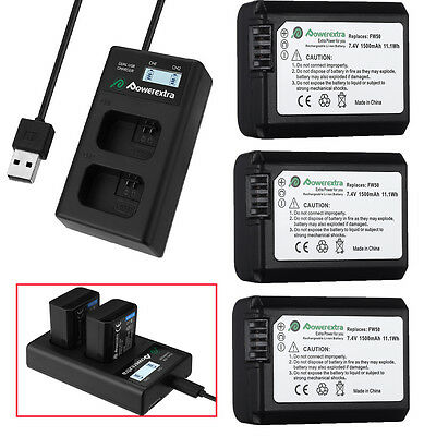 NP-FW50 Battery+ LCD Dual USB Charger for Sony Alpha 7R A6300 A6000 A6500 A7r A7