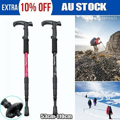 NEW Hiking Trekking Poles Walking Sticks Adjustable LED Anti Shock Camping