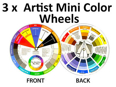 3 x Artists Colour Wheel Mixing Colour Guide 13cm Pocket Artist Colour Wheel
