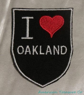 Embroidered Retro Vintage Style I Love Oakland California CA State Patch Iron On