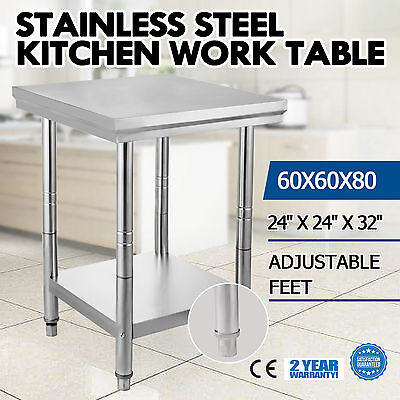 "24"" x 24"" Stainless Steel Work Prep Table Business Cafeteria Adjustable Feet"