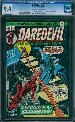 Daredevil # 128  Stairway to Slaughter !  CGC 9.4  scarce book !