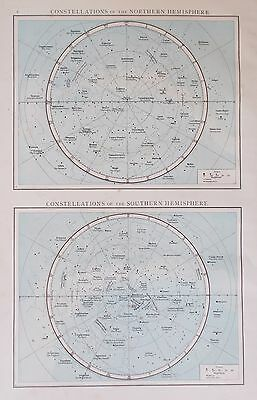 Map Northern & Southern Constellations. 1895. Antique