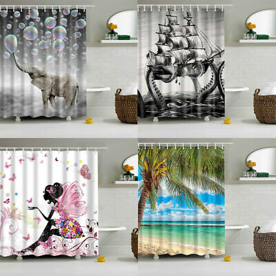 Stylish Design Solid Polyester Bathroom Shower Curtain Waterproof With Hooks AU