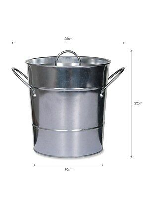 3.5L Litre METAL COMPOST BUCKET Galvanised Steel Composter Bin SEALED LID New