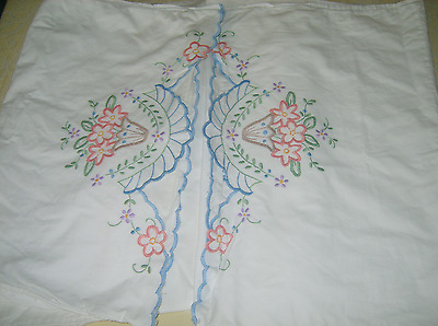 Vintage Bolster 1930s Embroidered Flowers Long Pillowcase 18''x84''/45x214cm