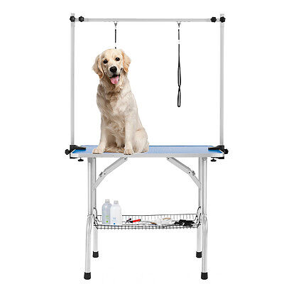 Portable Large Dog Grooming Table Pet Grooming Beauty Table 2 Loop Arm Blue
