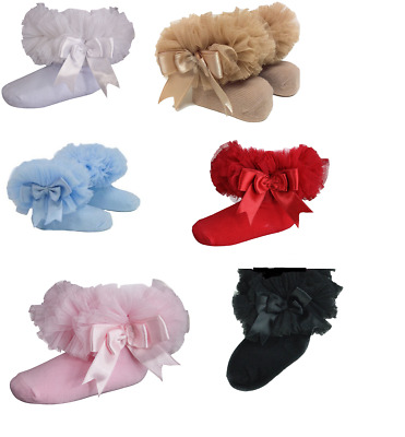 BabyQI Girls *Baby Tutu socks* Toddlers Spanish Satin Organza babies Bow Frilly