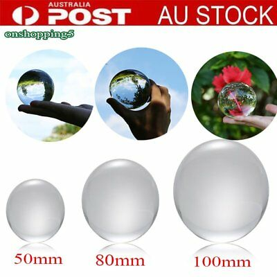 50mm/80mm Clear Round Glass Artificial Crystal Healing Ball Sphere Decoration