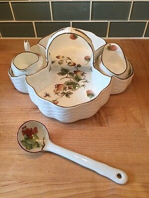 Coalport Strawberry Set - Basket, Cream Pitcher & Sugar Bowl