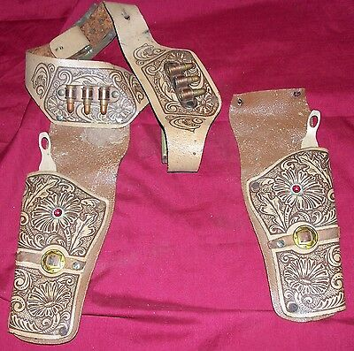 Old Dual Cap Gun Leather Holster Vintage Two 2 Diecast Cowboy Western Pistol Toy