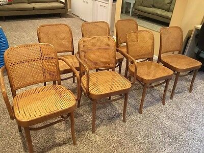 Vintage Art Deco Mid-Century MCM Cane & Bentwood Thonet Dining Chairs- Set of 7