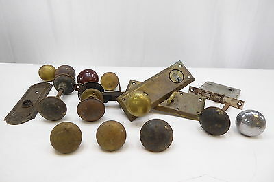 MIXED LOT OF 12 - VINTAGE DOOR KNOBS - Brass - FREE SHIPPING
