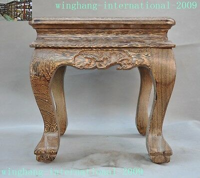 old China Palace old Wood Hand Carving Leaf Chairs Chair Stool Footstool Statue