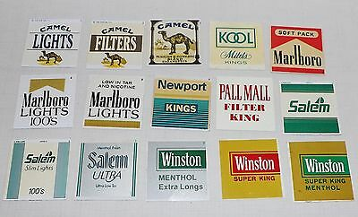 LOT OF 15 VINTAGE CIGARETTE VENDING MACHINE PLASTIC TAGS LABELS 2 x 2