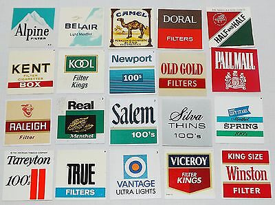 LOT OF 20 VINTAGE CIGARETTE VENDING MACHINE PLASTIC TAGS LABELS 2 x 2
