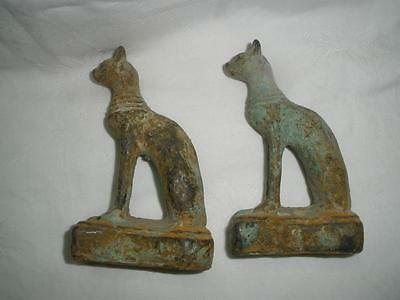 Ancient Egyptian Goddess VTG Cat Figurine set of 2 antique