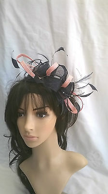 Navy & Pink Feather Fascinator  Wedding Races...rosette..crystals...headband