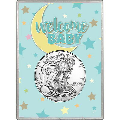 2019 Silver American Eagle BU in Blue Welcome Baby Gift Holder