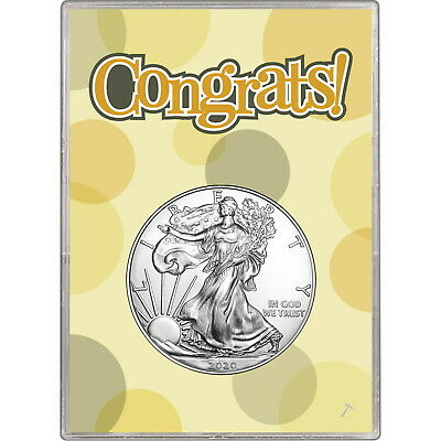 2019 Silver American Eagle BU in Congrats! Gift Holder