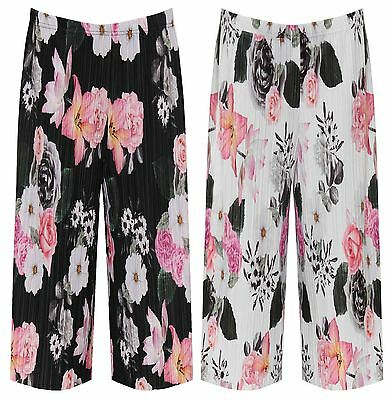 Womens Floral Print Pleated Elasticated Culottes Ladies Stretch Summer Short