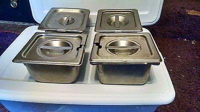 "4 VOLLRATH 18-8 STAINLESS PANS & Lids Steam table, hotel pans 1/6 size 4"" deep"