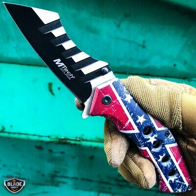 "8.25"" AMERICAN USA FLAG Tactical Cleaver Spring Assisted Pocket Folding Knife"