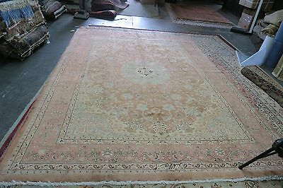 Semi Antique Vintage Signed Persian Tabriz Rug Hand Knotted Wool 8' x 11'-3