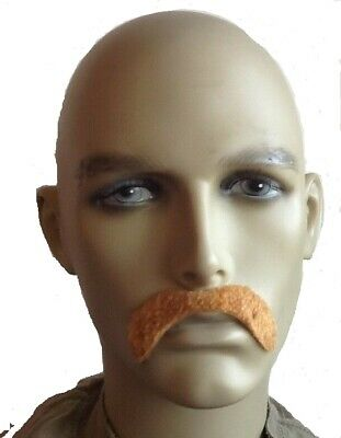 Light Brown Droop Style Self Adhesive Fancy Dress Moustache. Uk Next Day Disp