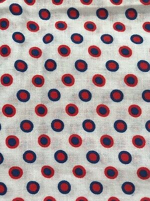 Vintage Feed/Flour Sack Cotton Quilt Fabric Red Blue Small PolkaDots Small Clsd