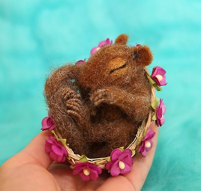 OOAK Needle Felted Miniature realistic squirrel handmade gift