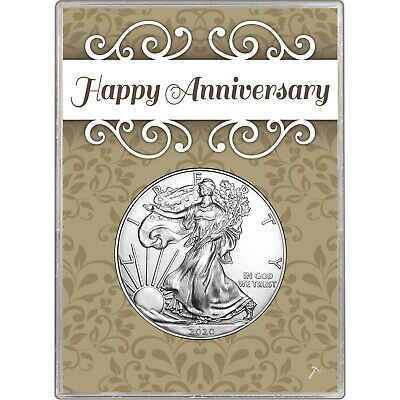 2019 Silver American Eagle BU in Happy Anniversary Gift Holder