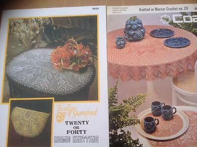 2 Knitted Lace Patterns Circular Tablecloth & Mats or Chairback + Doily