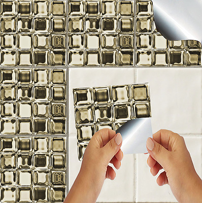 Glass Mosaic Tile Stickers Transfers Kitchen Bathroom Effect Self Adhesive