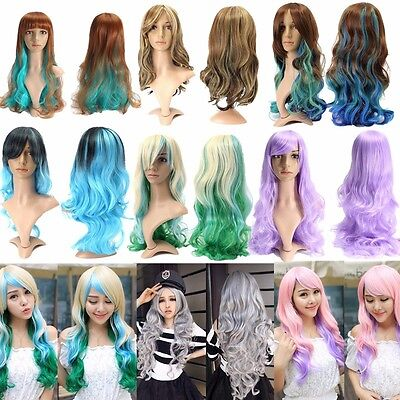Girl Lady Moda Peluca Largo Pelo Ondulado Rizado Cosplay Disfraz Party Full Wig
