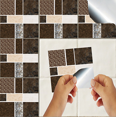 Marble Mosaic Tile Stickers Transfers Kitchen Bathroom Effect Self Adhesive