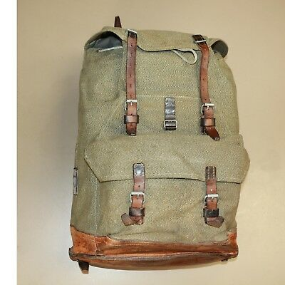 f46c094add7e6 Swiss Vintage 1963-Bulach Salt and Pepper Leather and Canvas Rucksack  Backpack