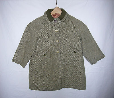 Vintage Childs Green Tweed Wool Coat