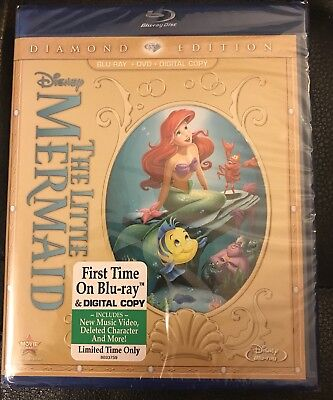 The Little Mermaid (Blu-ray+Digital+DVD, 2013, 2-Disc, Diamond Edition) NEW OOP