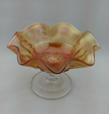 Dugan Marigold Clear Stem Coin Spot Thumbprint Carnival Glass Candy Dish Compote