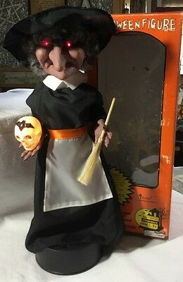 """Halloween WITCH Animated TELCO Motionette 16"""" Box Eyes Light Up WORKS!"""