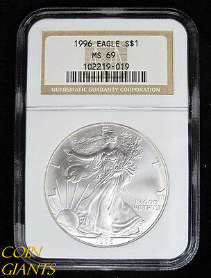 1996 S$1 Silver Eagle Golden Key Date NGC MS69 BU Bullion US Coin Early Year ASE