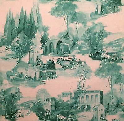 CLARKE & CLARKE Anastacia teal  printed cotton linen toile new remnant