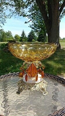 Vintage Amber Glass Compote Centerpiece Bowl on Pedestal. Footed Rick Bar Sales
