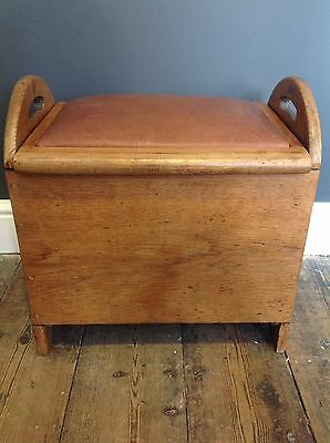 Classic Oak Wooden Stool With Handles And Leather Covered Lid Seat