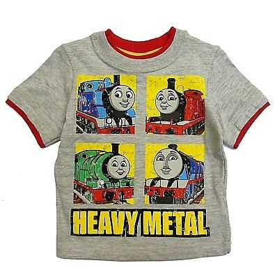 Thomas Friends Boys 12 Months Train Grey Tee Shirt Top Short Sleeve Infant New