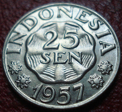 1957 Indonesia 25 Sen In Au Condition