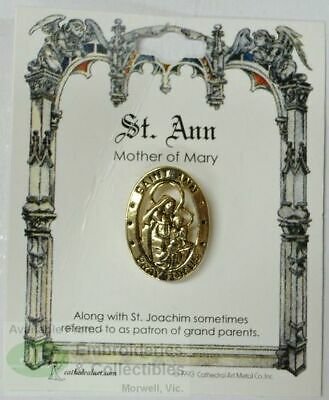 St. Ann Patron Saint Lapel Pin, Gold Tone, Mother of Mary